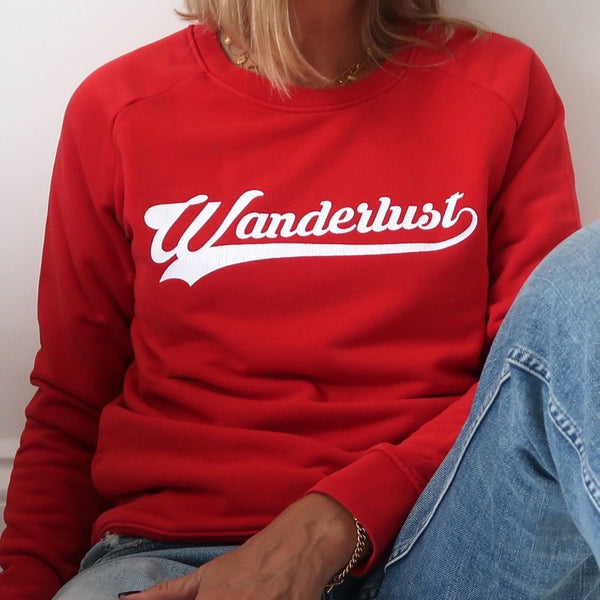 wanderlust sweatshirt (red)