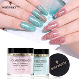 BORN PRETTY Pink Glitter Acrylic Powder Builder Nail Art Decorations Sequins Polymer Powder Tip Extension Nail Art Manicure