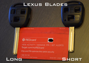 Lexus blades shown against a standard credit card.