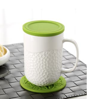 mug/infuser honeycomb green