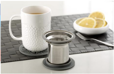 mug/infuser honeycomb grey