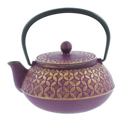 teapot cast iron seven jewels purple