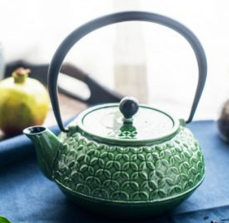 teapot/kettle iron enamelware jade jewel