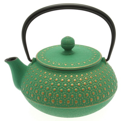 teapot cast iron honeycomb gold/green