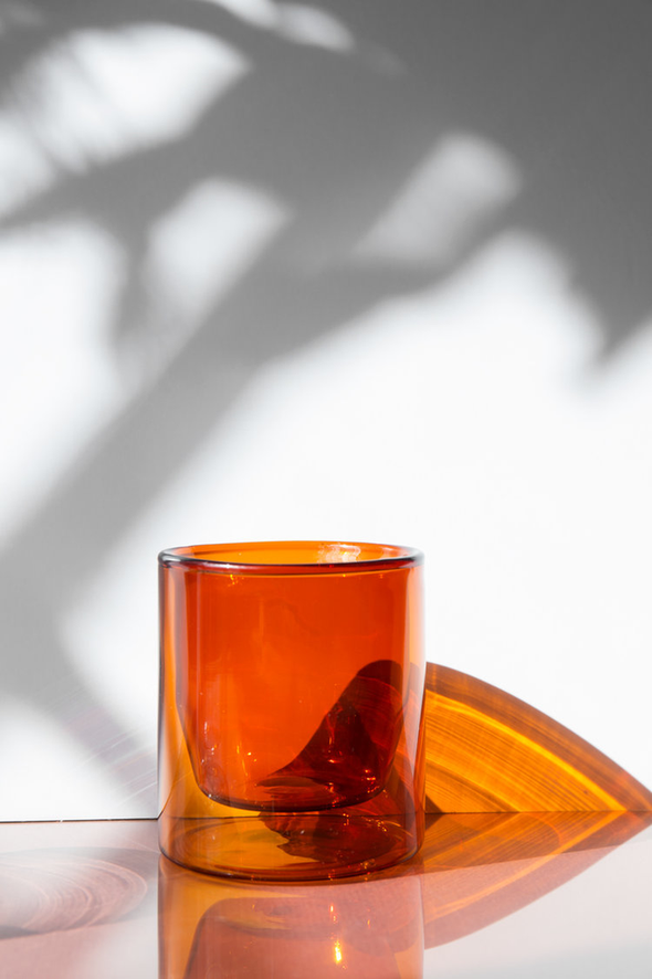 glass double-wall amber 6oz