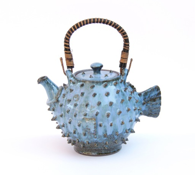 teapot handmade ceramic blowfish blue
