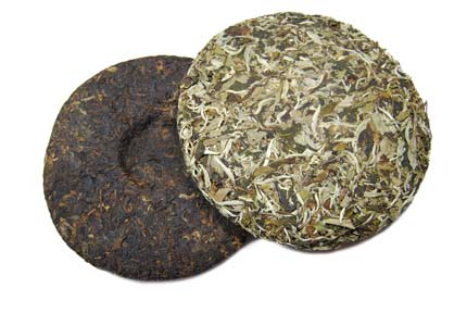 tea cake pu-erh white