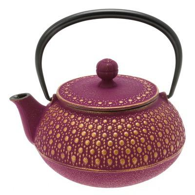 teapot cast iron gold/purple honeycomb