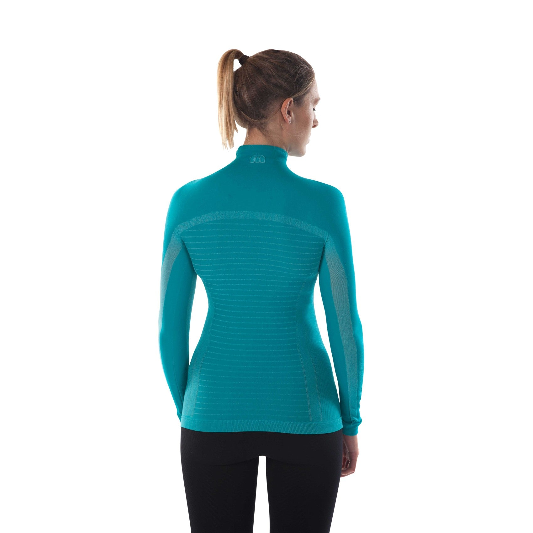 megmeister-womens-drynamo-high-neck-base-layer-aqua-back