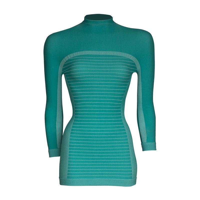 megmeister-womens-drynamo-high-neck-base-layer-aqua-front-view