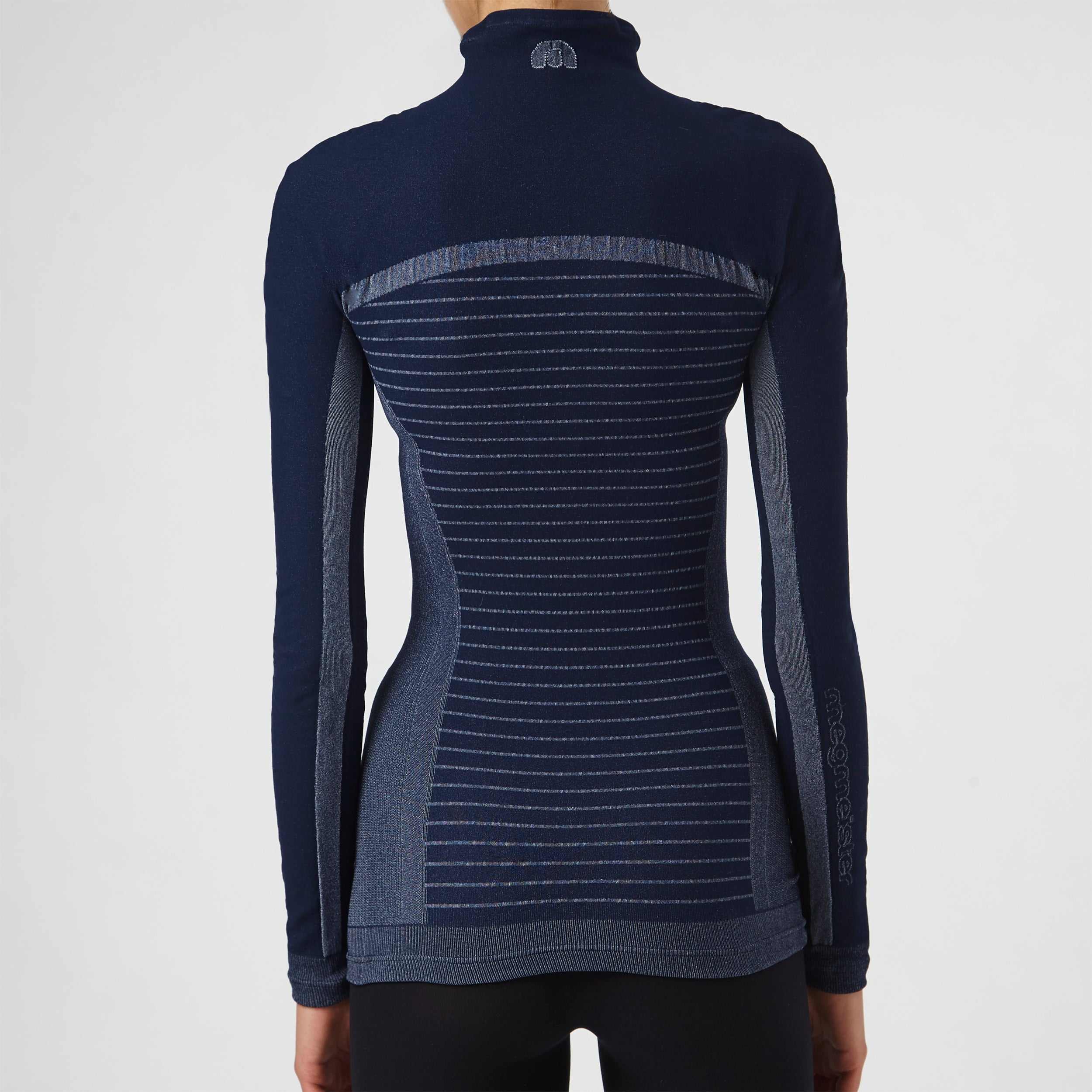 megmeister-womens-drynamo-high-neck-base-layer-black-back-and-stripe-view
