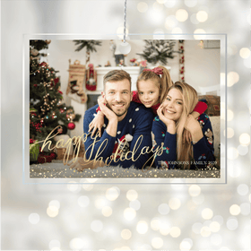 Acrylic Glass Photo Ornaments Happy Holidays Gold Script