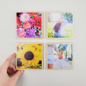 4x4 EcoWoodPics™ Wood Photo Tiles Slim with Border