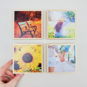 4x4 EcoWoodPics™ Wood Photo Tiles Thick with Border