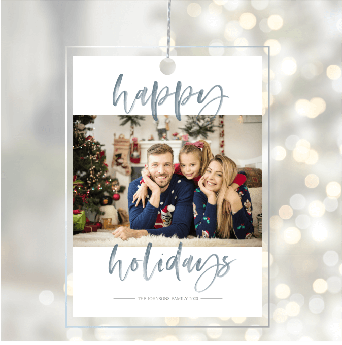 Acrylic Glass Photo Ornaments Happy Holidays Blue Script