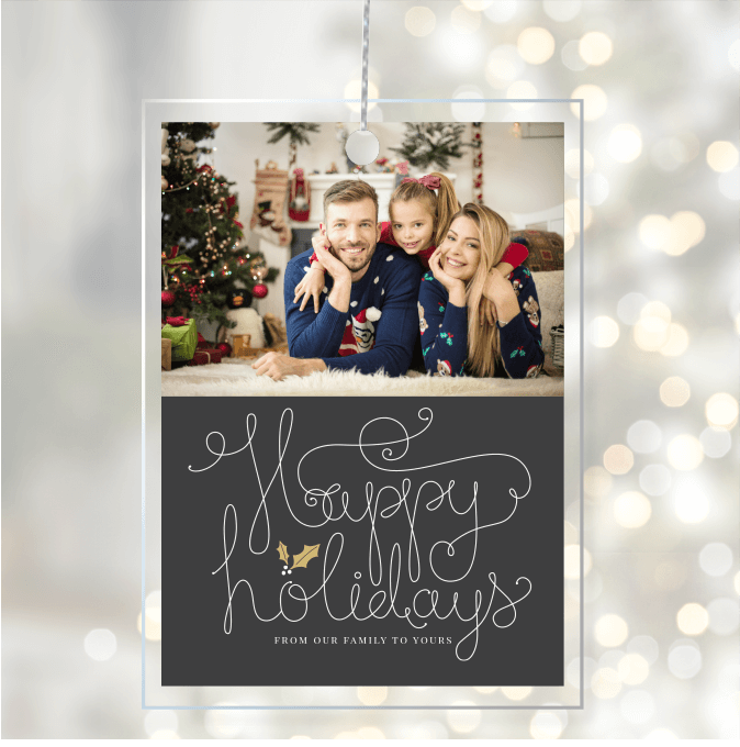 Acrylic Glass Photo Ornaments Happy Holidays Swirly Script