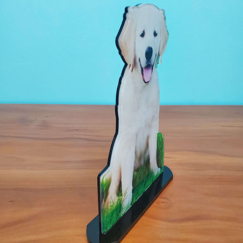 Photo Tiles, Acrylic Prints, Photo Wall Tiles, Wall Art, Wall Decor, Home Decor, Photo Prints, 5x7 AcryliCuts™ Therapy Dog Statuette - Barney - PicFoams.com