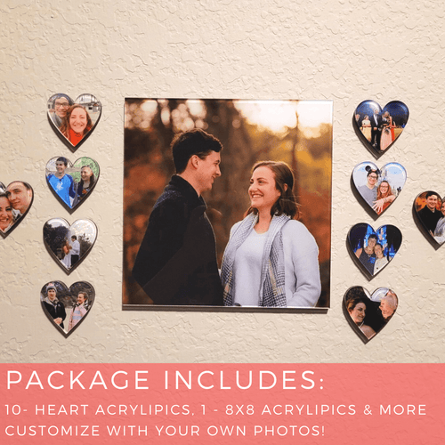 Valentine's Day Gift Package with Custom Heart Photo Tiles & Premium Bath Melts