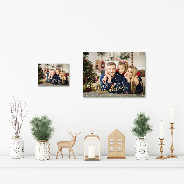 AcryliPics™ Acrylic Photo Tiles Happy Holidays Gold Script
