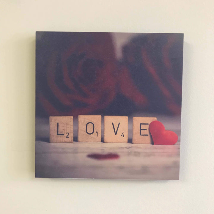 "Photo Tiles, Acrylic Prints, Photo Wall Tiles, Wall Art, Wall Decor, Home Decor, Photo Prints, ""Love"" - Scrabble Letters - PicFoams.com"