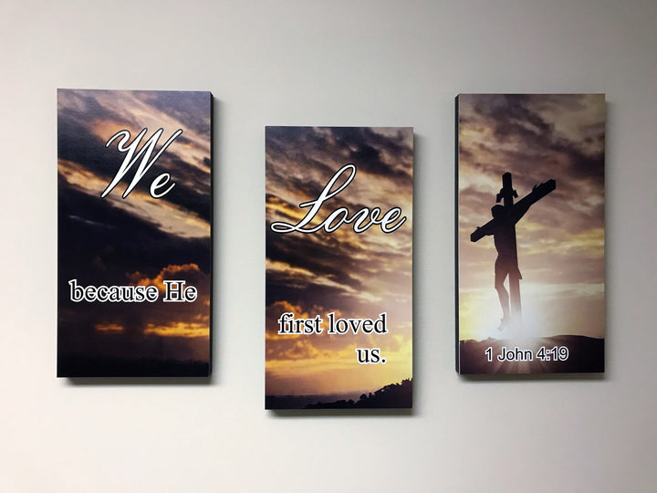 Photo Tiles, Acrylic Prints, Photo Wall Tiles, Wall Art, Wall Decor, Home Decor, Photo Prints, We Love Because He First Loved Us - 1 John 4:19 - PicFoams.com