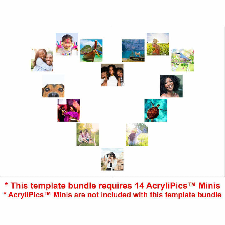 Photo Tiles, Acrylic Prints, Photo Wall Tiles, Wall Art, Wall Decor, Home Decor, Photo Prints, Heart Template Bundle - PicFoams.com