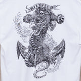 Dragon anchor by Rick Rietveld, Surreal Surf Art from California. Mens white t-shirt, black graphic.