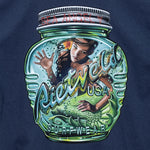 Magic bottle surf art t-shirt in Blue from Rick Rietveld, Californian surf artist.