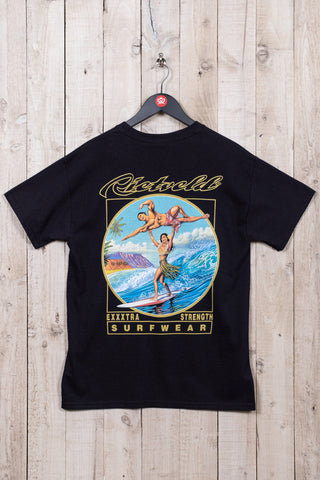 EXxtra Strength Surf t-shirt from Rick Rietveld - Californian Surf Artist. Mens surfing t-shirt
