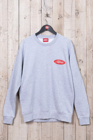 Classic crew neck jumper from Rietveld in grey. Iconic Californian Surf Art.