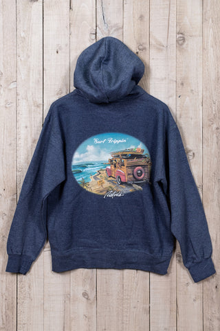 Surf trippin hoodie in blue from Rick Rietveld, Californian Surf artist.