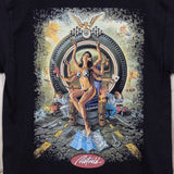 Road Queen artwork on a mens black t-shirt, by Rick Rick Rietveld. Surf art from California.