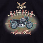 Speed Freak graphics for a mens black t-shirt by Californian Surf Artist, Rick Rietveld.