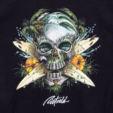 Surf Skull design on a mens black t-shirt from Rick Rietveld, Californian Surf Artist.