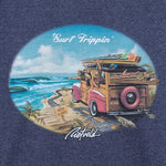 Surf Trippin graphic for mens blue surf t-shirt. By Rick Rietveld, Californian Surf artist.