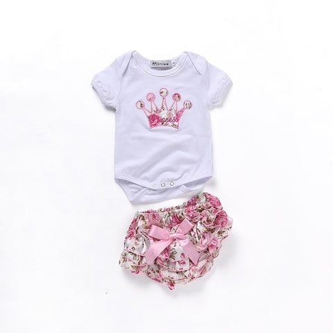 2Pcs Cotton Flower Romper + Shorts