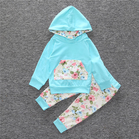 Long Sleeve Floral Hooded Top + Pants