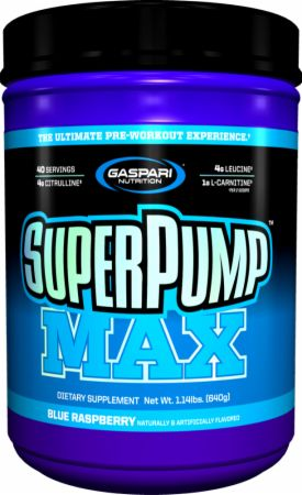 Gaspari Nutrition - SuperPump MAX - The Ultimate Pre Workout Powder, Sustained Energy Preworkout, Nitric Oxide Booster, Muscle Growth, Recovery & Replenishes Electrolytes - 40 Serving (Blue Raspberry)
