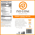 No Cow No Cow Bar, Chunky Peanut Butter, 12-(2.12oz) Bars
