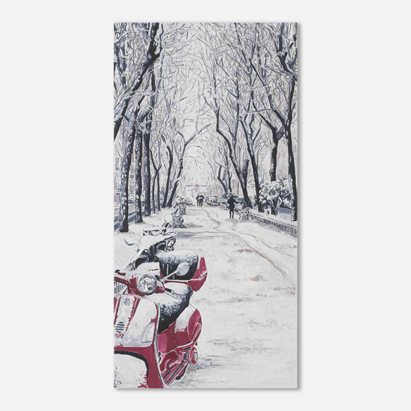 Red scooter, white snow