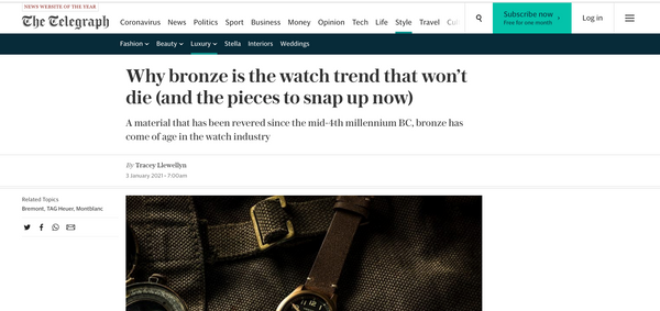 The Telegraph - Bronze Watch Round Up