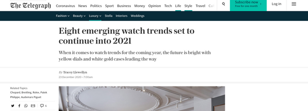 The Telegraph - Eight emerging watch trends in 2021