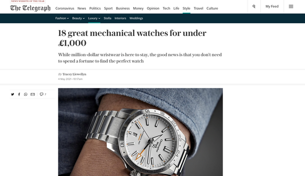 The Telegraph - 18 Great Mechanical Watches Under £1,000