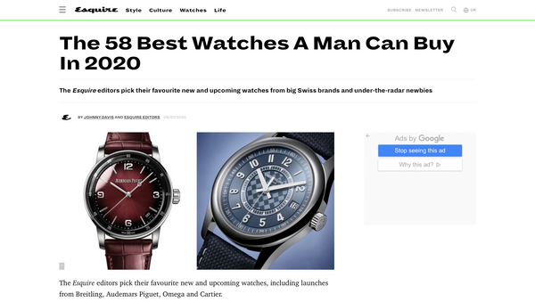 Esquire - The 58 Best Watches A Man Can Buy In 2020
