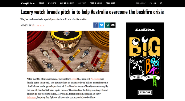 William Wood Watches supports Australian Bushfires, Esquire Singapore