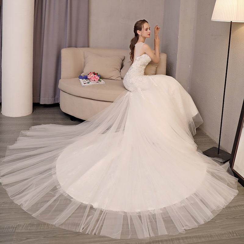 Backless Mermaid Wedding Dress 2018 Lace Appliques Court Train ...