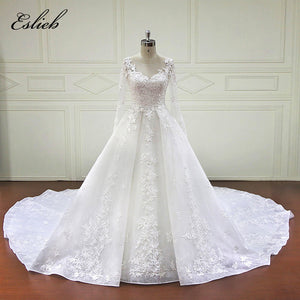 31d9e451af5d Beautiful A line Princess Wedding Dress Special Star Lace Appliques Long  Sleeves, Sheer Button Back