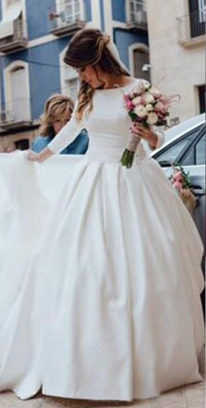White Simple Backless Wedding Dress Ball Gown 34 Sleeves