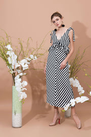 Volant Double Strap Maxi Dress