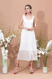 Bouton Long Strapped Dress